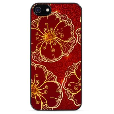 Чехол для iPhone Бордовые маки