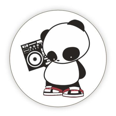 Костер (подставка под кружку) Панда с магнитофоном