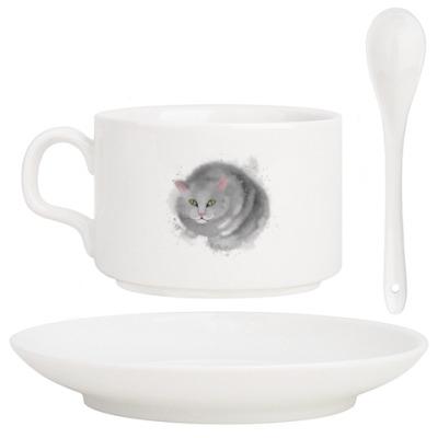 Кофейный набор Серый кот, кошка