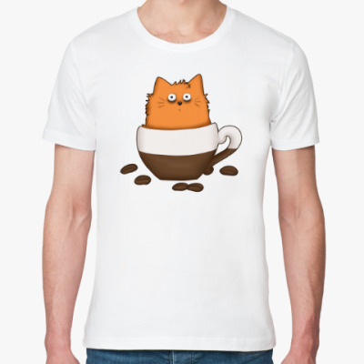 Футболка из органик-хлопка Кофейный кот