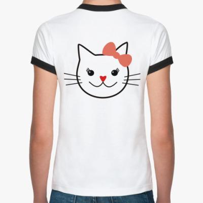 Женская футболка Ringer-T 'Я люблю кошек'