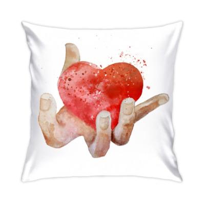 Подушка Сердце в руке, heart in hand