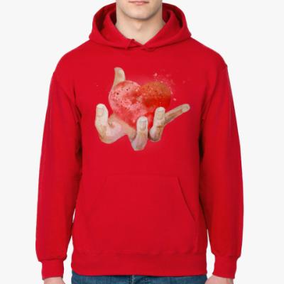 Толстовка худи Сердце в руке, heart in hand