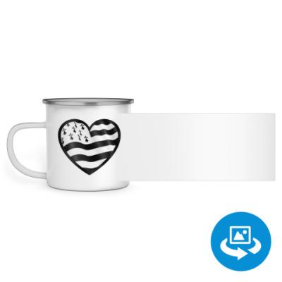 Эмалированная кружка (круговая запечатка) Бретонское сердце