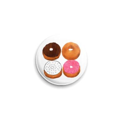 Значок 25мм пончики