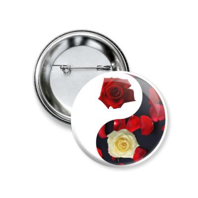 Значок 37мм  'Инь-Ян' (розы)