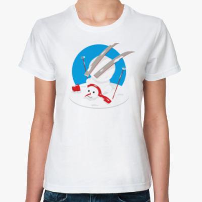 Классическая футболка Неуклюжий снеговик Новый Год
