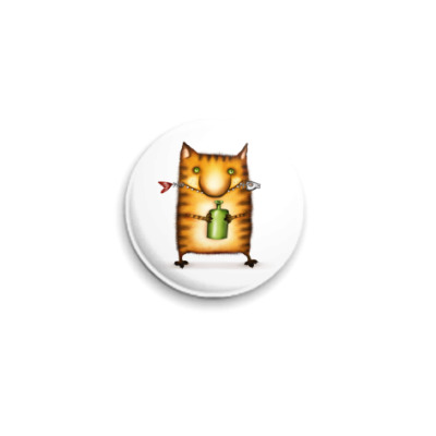 Значок 25мм  Кот с Бутылкой