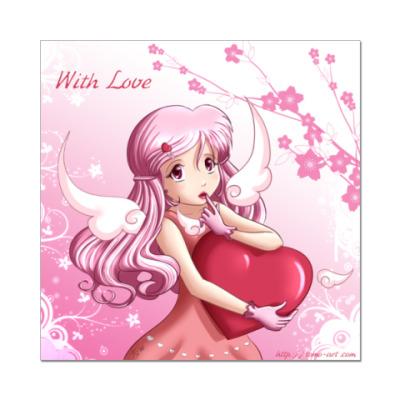 Наклейка (стикер)  'With Love'