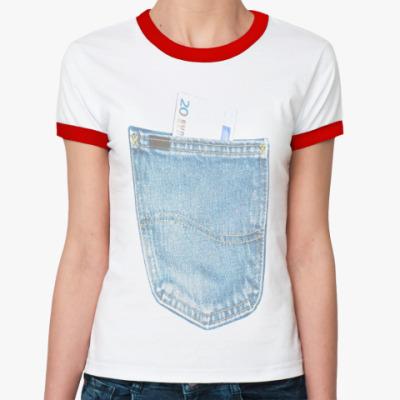 Женская футболка Ringer-T Джинсовый карман