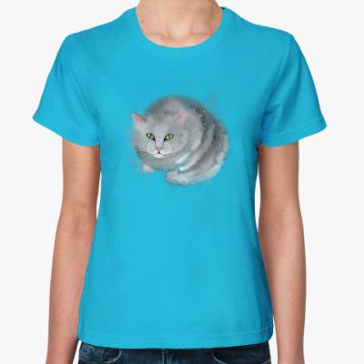 Женская футболка Серый кот, кошка