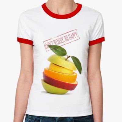 Женская футболка Ringer-T   Don't Worry