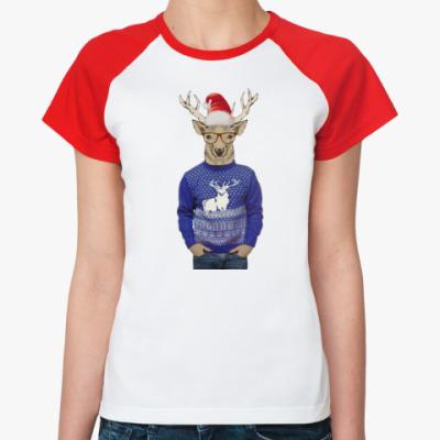 Женская футболка реглан Олень хипстер новогодний