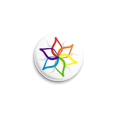 Значок 25мм  'Rainbow Flower'