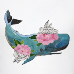 Кит кашалот в цветах
