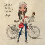 Девушка хипстер с велосипедом