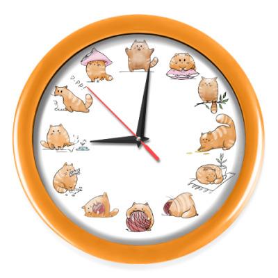 Настенные часы Кот Мягкот, рыжий живот!