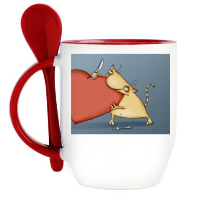 Кружка с ложкой Сердцеед