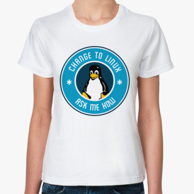 Классическая футболка Change to Linux пингвин Tux