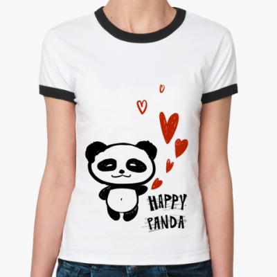 Женская футболка Ringer-T   Happy Panda