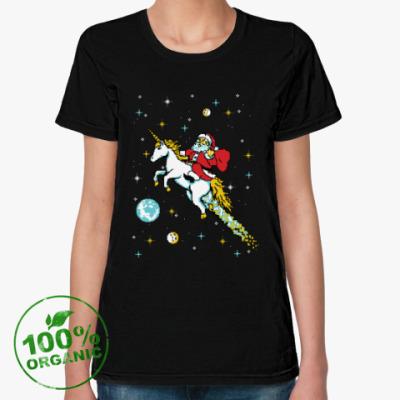 Женская футболка из органик-хлопка Санта и единорог