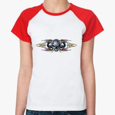 Женская футболка реглан Череп/драконы