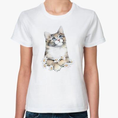 Классическая футболка Кот в ромашках