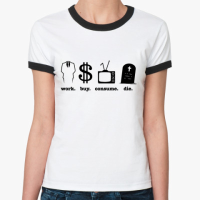 Женская футболка Ringer-T work  Жен (бел/чёрн)