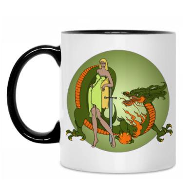 Кружка Девушка и дракон