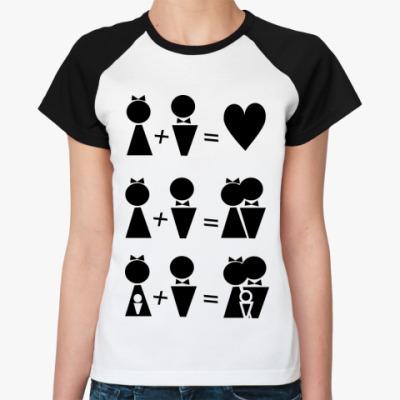 Женская футболка реглан М+Ж