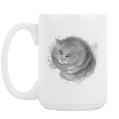 Кружка Серый кот, кошка