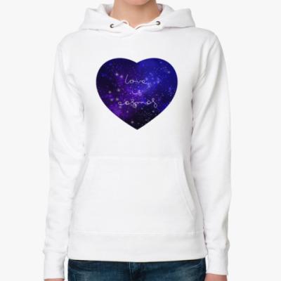 Женская толстовка худи Любовь - это космос, сердце
