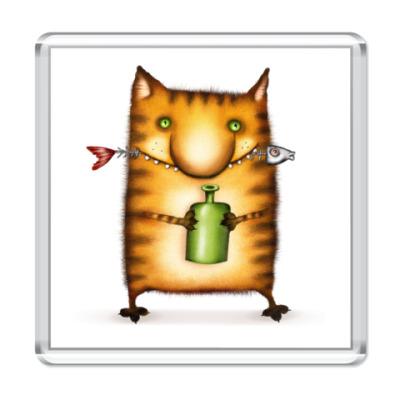 Магнит  Кот с Бутылкой
