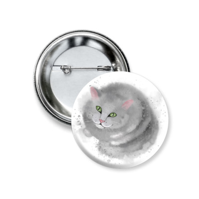 Значок 37мм Серый кот, кошка