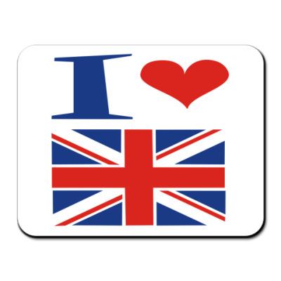Коврик для мыши Я люблю Англию