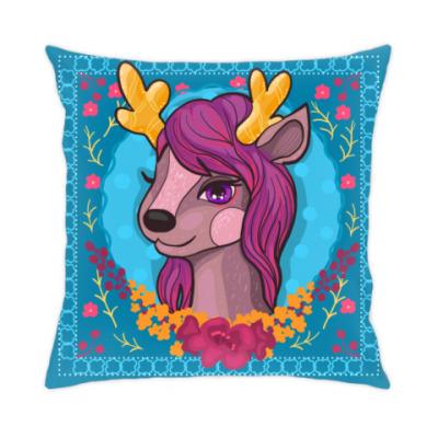 Подушка Милый мультяшный очаровательный олененок принцесса