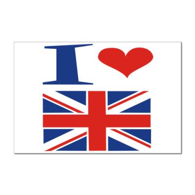 Наклейка (стикер) Я люблю Англию