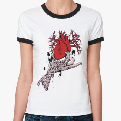 Женская футболка Ringer-T ZombieHeart