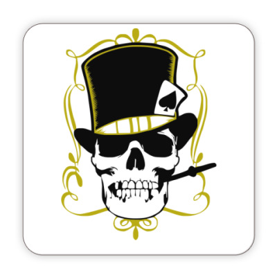 Костер (подставка под кружку) Poker череп