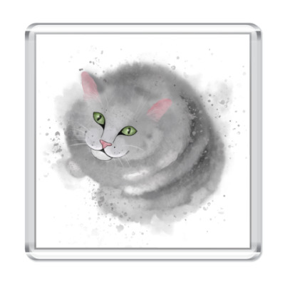 Магнит Серый кот, кошка