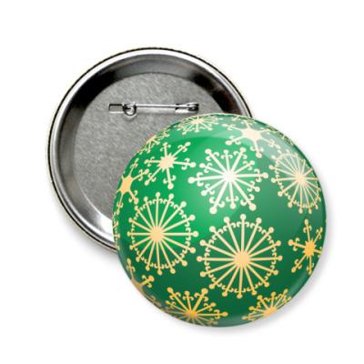 Значок 58мм Новогодний шар
