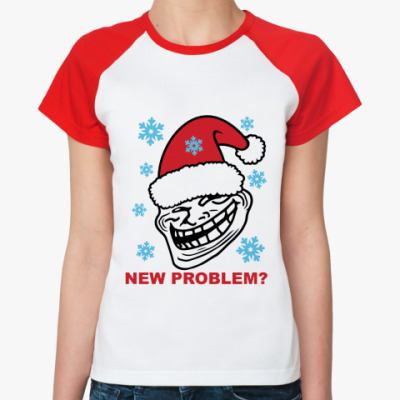 Женская футболка реглан  Trollface