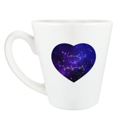 Чашка Латте Любовь - это космос, сердце