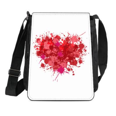 Сумка-планшет Сердце из брызг краски