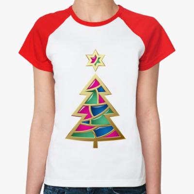 Женская футболка реглан Новогодняя елка